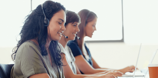 Customers communicating to telemarketing agent on the phone